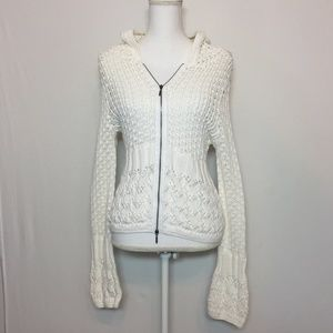 CAbi Woman's Ivory Knit Full Zip Cardigan Hoodie💚